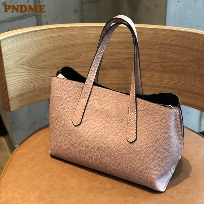 PNDME fashion simple genuine leather women 39 s handbag cowhide leather ladies pink shoulder bag luxury female shopping tote bags in Top Handle Bags from Luggage amp Bags