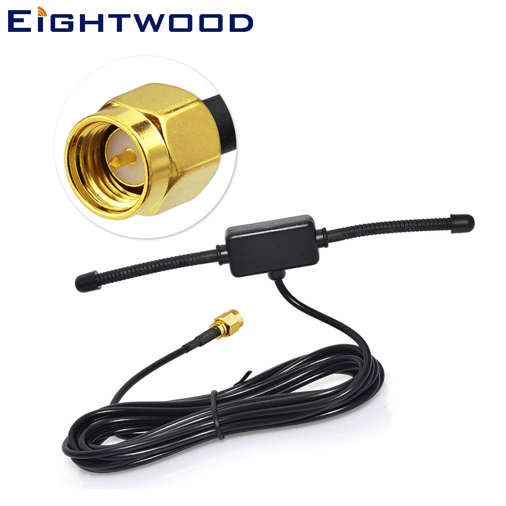 Eightwood DAB/DAB+ Car Antenna Auto Car Radio T Shape Aerial Amplified Internal Glass Mount DAB Antenna for Clarion DAB302E