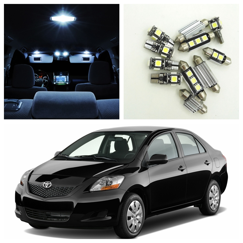 8Pcs Super Bright White LED Bulbs Interior Package Kit For 2007-2011 Toyota Yaris Map Dome License Plate Light Toyota-B-27 10pcs xenon white car interior led bulbs package kit for 2006 2012 toyota rav4 map dome license plate light toyota b 10