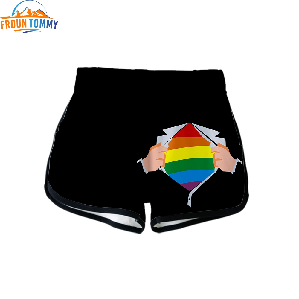 LGBT new print Ladies <font><b>Sexy</b></font> <font><b>Shorts</b></font> Hip Hop Casual Harajuku high quality <font><b>Shorts</b></font> Kpop comfortable Gay Pride Lesbian Heartbeat <font><b>short</b></font> image