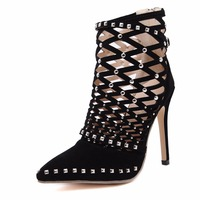Women Pumps High Heels Shoes Woman Gladiator Sandals Pointed Toe Flock Cut Outs Rivets Party Wedding
