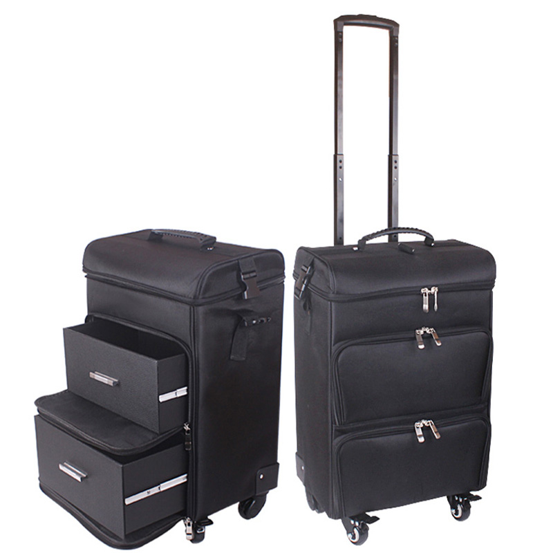 Carry-ons Letrend Black Crocodile Rolling Luggage 18 Inch Multifunction Pu Leather Suitcase Wheels Women Cosmetic Case Trolley Travel Bags