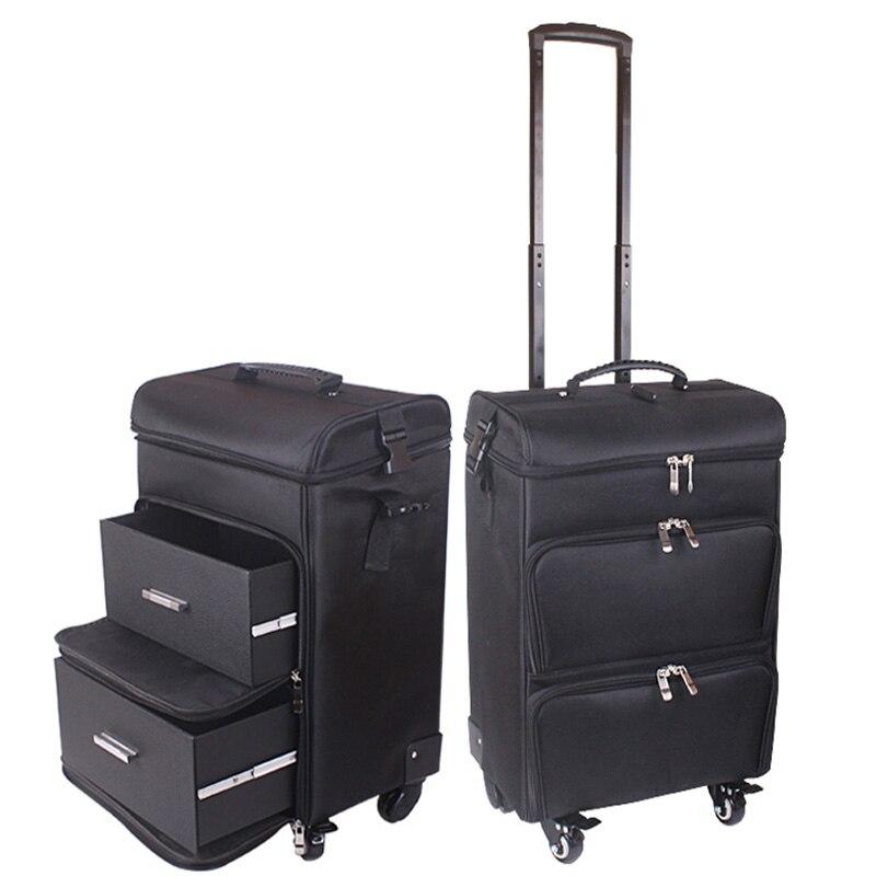 LeTrend 20 inch Multifunctionele Cosmetische Geval Rollende Bagage Spinner Vrouwen professionele Koffer Wielen Oxford Trolley toolkit-in Koffers van Bagage & Tassen op  Groep 1