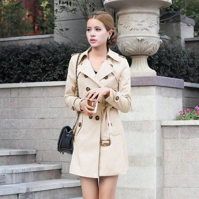 1 ud. Gabardina para Mujer doble pecho ajustado ajuste largo primavera abrigo Casaco femenino Abrigos Mujer otoño prendas de abrigo 2