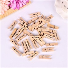 30 PCS Wholesale Very Small Mine Size 25mm Mini Natural Wooden Clips For Photo Clips Clothespin Craft Decoration Clips Pegs