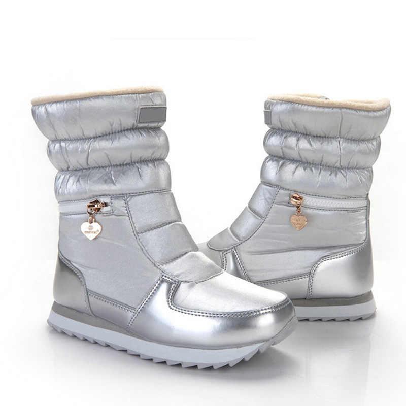 SNURULAN 2018 新スタイルの女性のブーツファッションシルバー冬のブーツ暖かい雪女の子白ジップ靴女性ホットブーツ