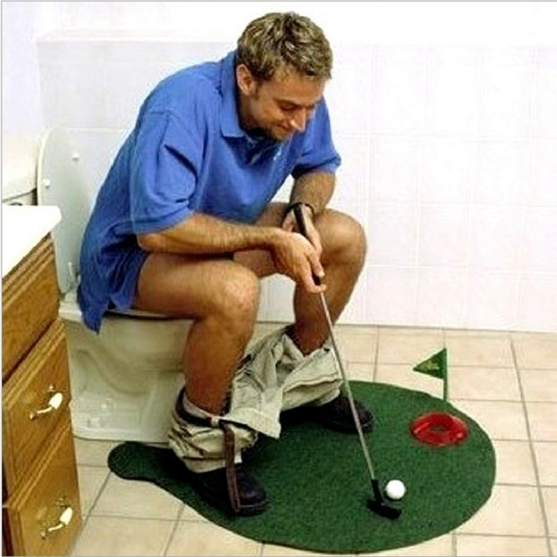 Funny Potty Putter Toilet Golf Game High Quality Toys Mini Golf Mat Set Novelty Game Toy Gift for Children Adults