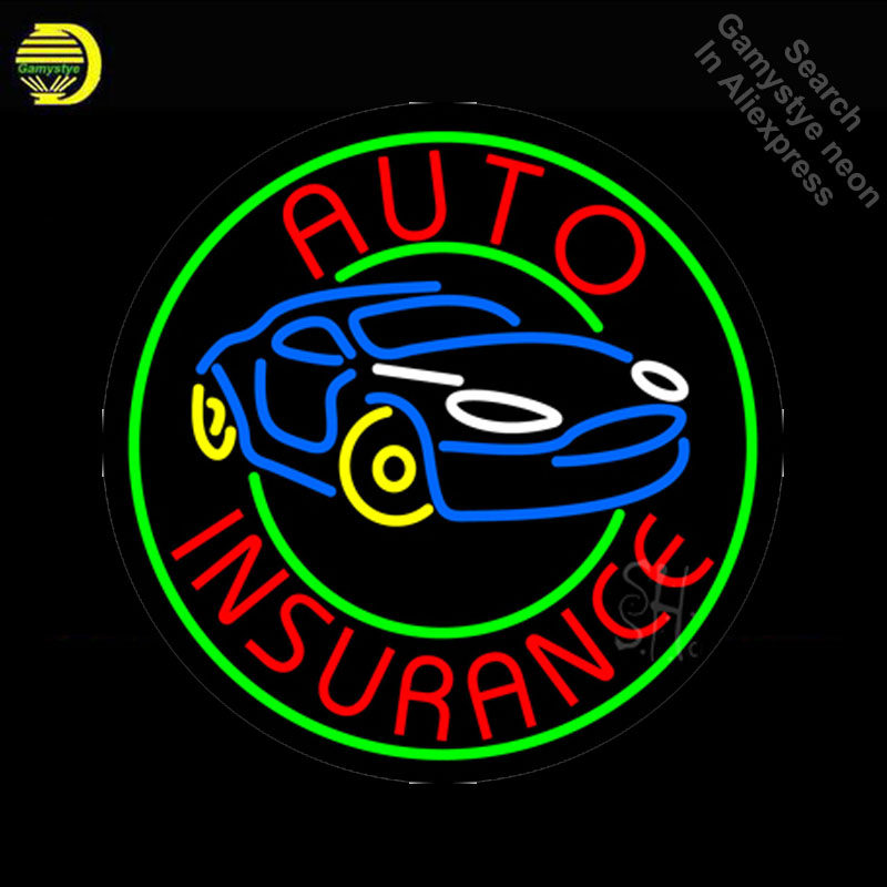 NEON SIGN For Round Auto Insurance Car neon Light Sign Advertise Window Hotel Neon signs for sale neon lights for sale Lamps image