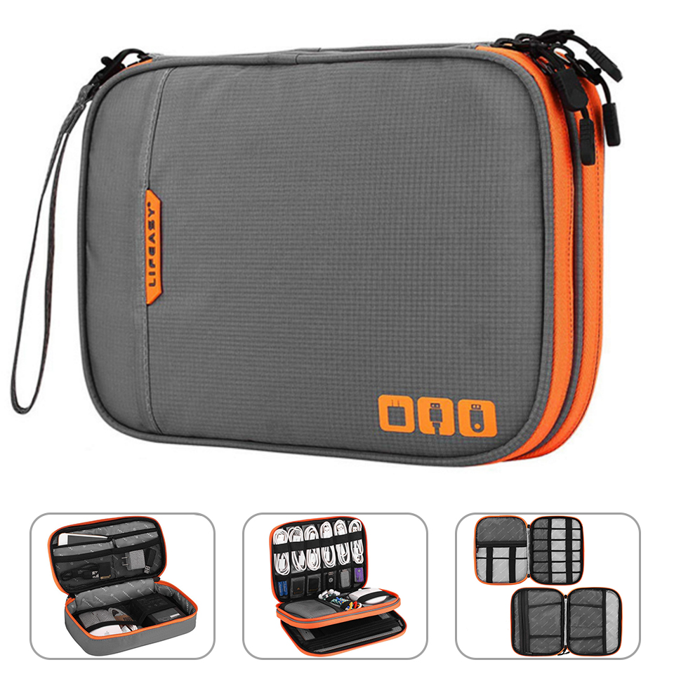 Portable Electronic Accessories Travel caseCable Organizer Bag Gadget Carry Bag for iPadCablesPowerUSB Flash Drive Charger