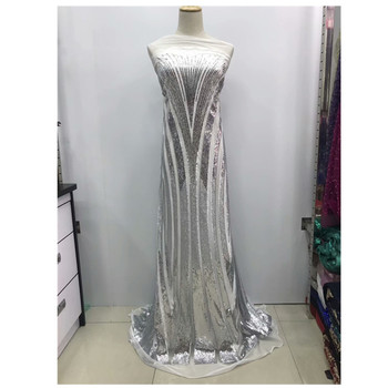 2019 New Design African Lace Fabric With Sequins Embroidery Mesh Tulle Lace Fabric High quality Nigerian Lace Fabric   jl65-1618