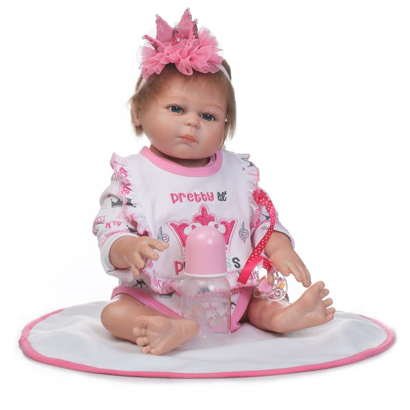 Cute 50cm Penuh Tubuh Silikon Reborn Baby Dolls 20inch BeBe Reborn - Anak patung dan aksesori - Foto 4
