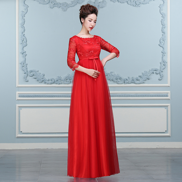 Red Maternity Long Prom Dresses Lace Evening Dress 2016 Half Sleeve ...