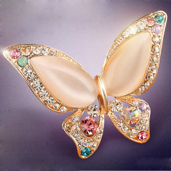 2 colors for choose Opal and rhinestone brooches for women scarf bukle wedding butterfly brooch pins fashion jewelry good gift
