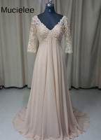 Champagne Long Dress Chiffon Maternity Evening Dresses Formal Dress Lace Pearl Beaded Three Quarter Sleeve Evening