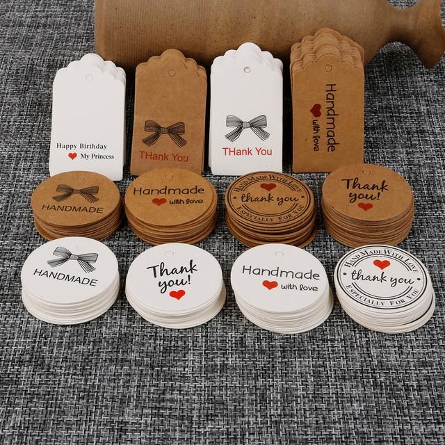 Étiquettes cadeaux en papier multi-jolies marron/blanc 100 pièces, étiquette pour bijoux, étiquette ronde pour faveurs de mariage et cookies faites à la main