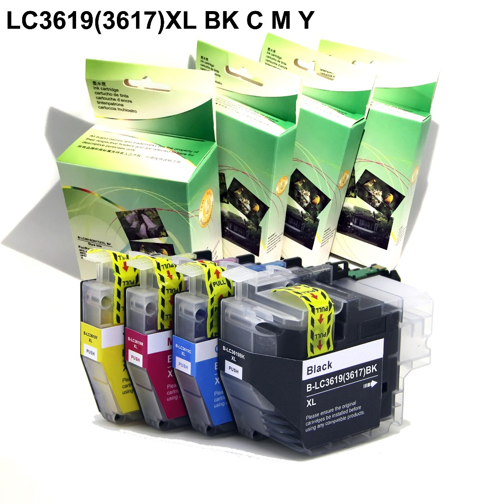 YOTAT (Dye ink) Compatible ink cartridge LC3619 LC3619XL (LC3617) for Brother MFC-J2330DW MFC-J2730DW printer full lc3619xl bk c m y refill ink cartridge for brother mfc j3930dw mfc j3530dw mfc j2330dw mfc j2730dw inkjet printer with chip