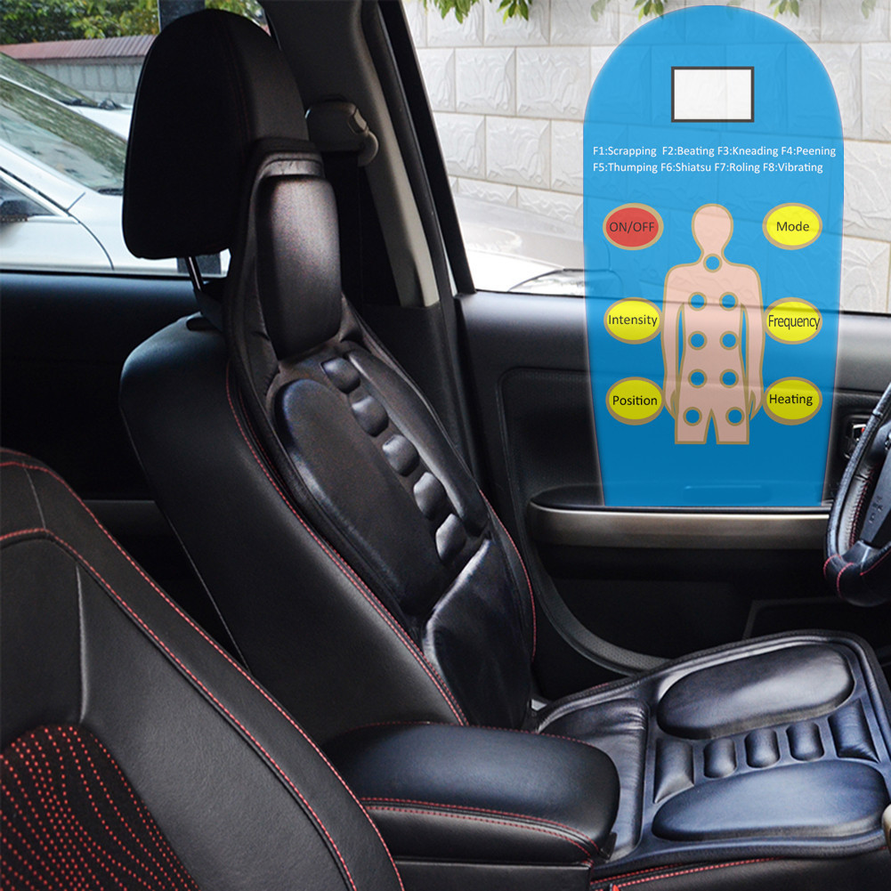 Black Home/Car Dual-use Seat Back Massage Chair Heat Seat Cushion shoulders, back, waist/legs/Neck Pain Lumbar Support Car Pads
