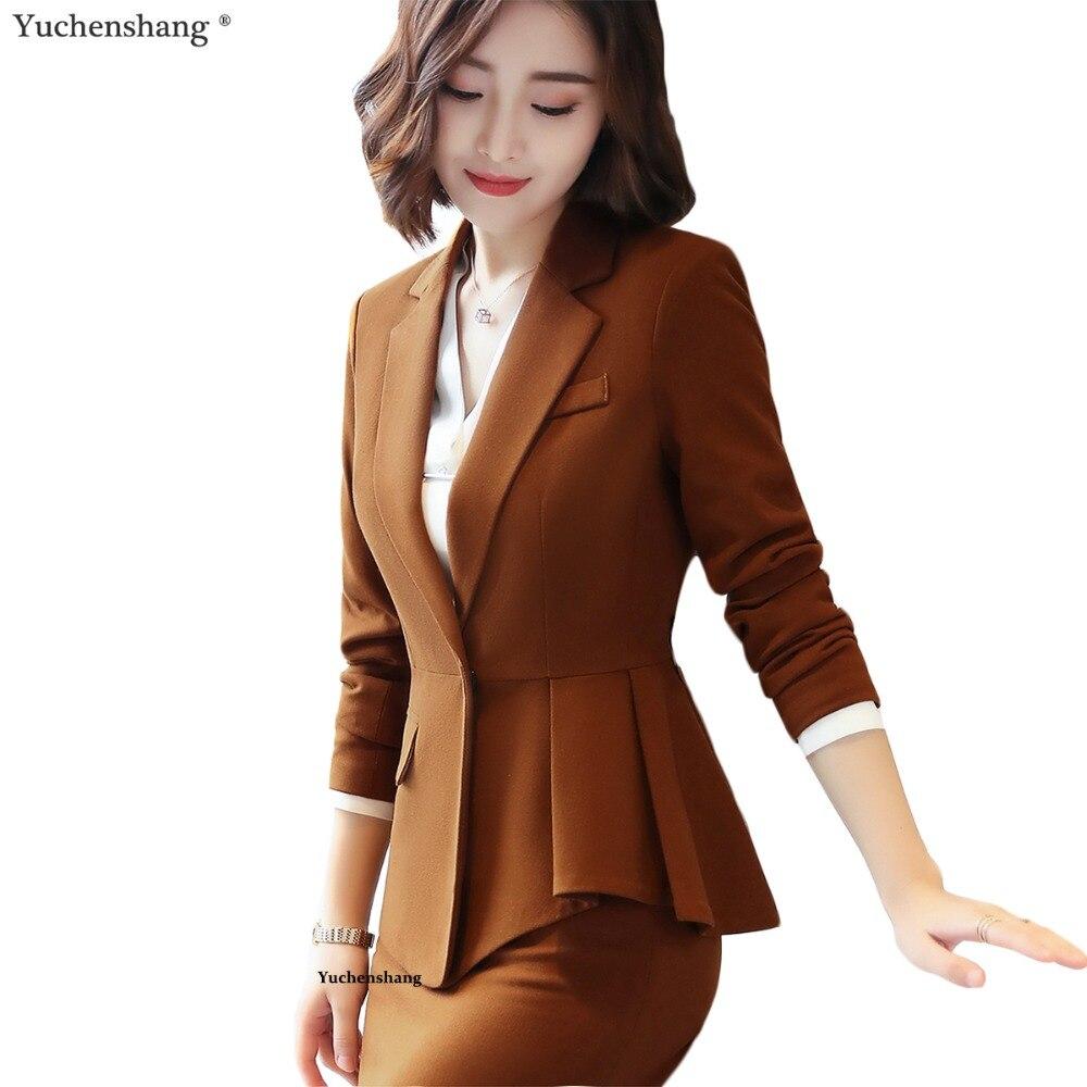 Mode élégante femmes blazer de haute qualité nouvelle hiver formelle D'affaires ruches vin veste bureau dames plus la taille travail manteau
