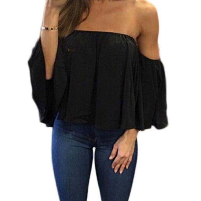 Blusa informal con hombros descubiertos para mujer, camisa sin tirantes de Color puro con mangas abombadas 3