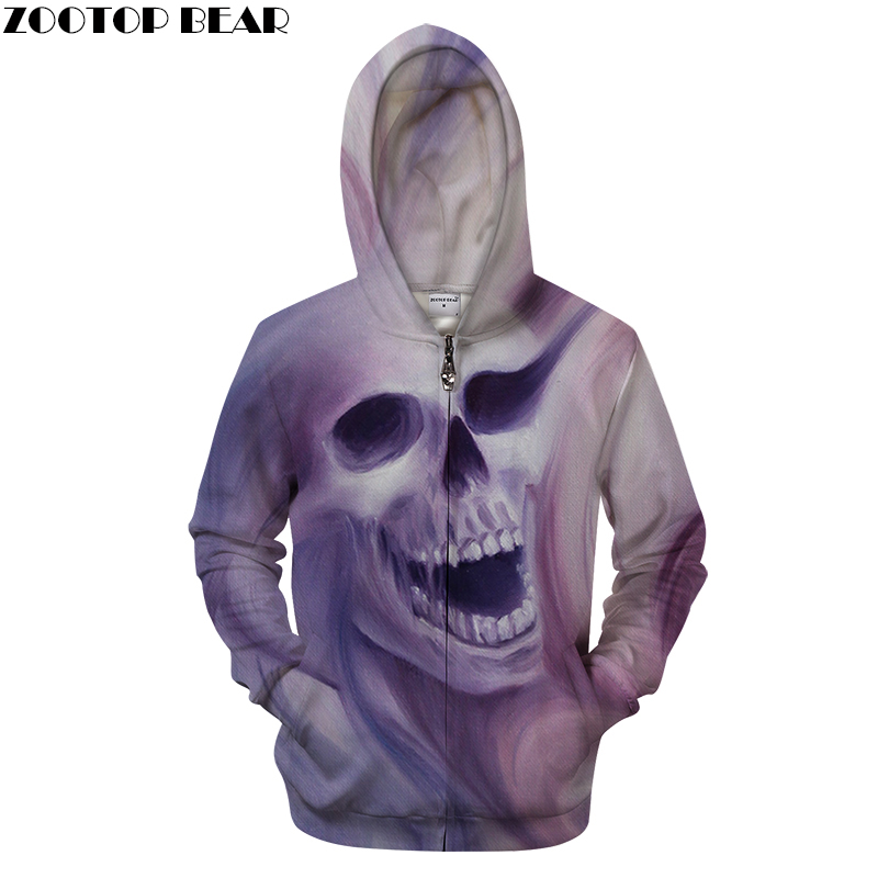 Draw Skull 3D Print Hoodies Men Women Tracksuit Summer Funny Long Sleeve Sweatshirt Pullover Zipper 2018 Drop Ship ZOOTOP BEAR