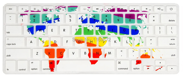 Color World Map Silicone Keyboard Protector Cover Skin Protective