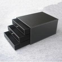 3-ящика 3-слойная структура дерева кожа стол подачи шкаф ящик для хранения офисной организатор документ контейнер черный PWJG004