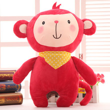 about 40cm cartoon monkey plush toy scarf style red monkey soft doll throw pillow toy birthday present Xmas gift c860