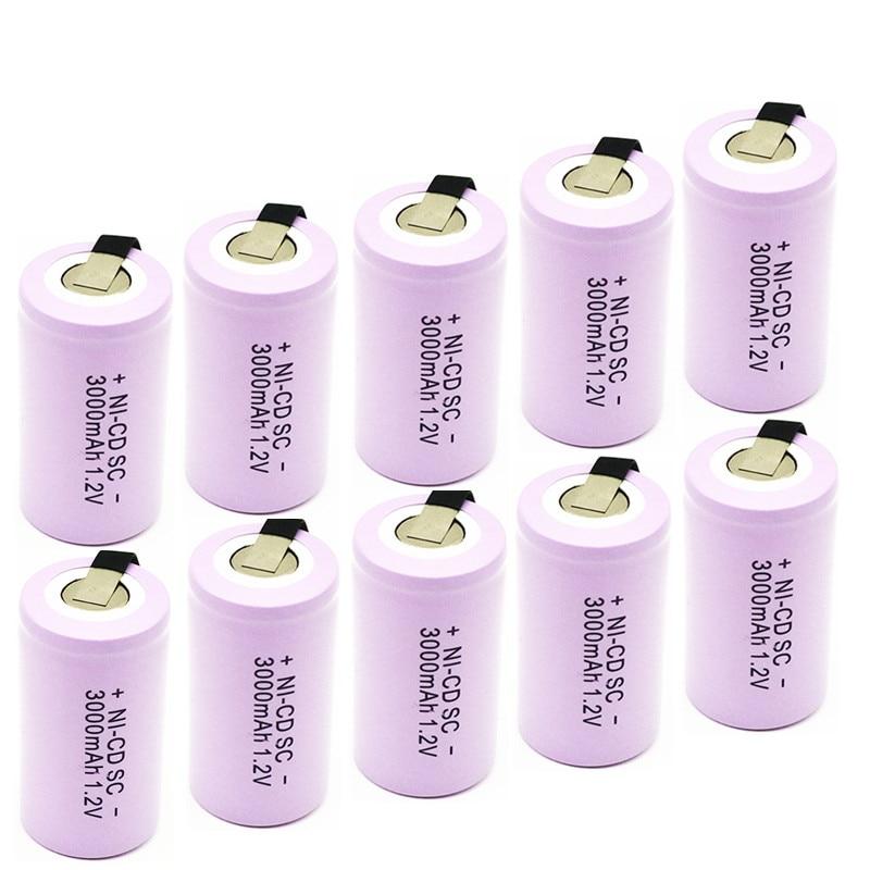 Batterie de haute qualité batterie rechargeable sous batterie SC ni-cd batterie 1.2 v avec onglet 3000 mAh pour outil électrique