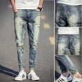 B0632 skinny jeans hombres primavera 2016 remiendo delgado straight men jeans mens destroyed jeans pantalones vaqueros hombre marca