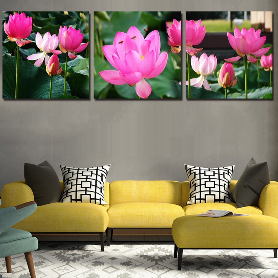 Compare prices on chinese lotus painting online shoppingbuy low unframed beautiful lotus landscape canvas painting 3 pieces wall art chinese scenery flower modern home decoration dhlflorist Choice Image