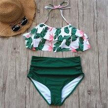 Bikini Set Double Ruffle Swimwear Women Sexy Swimsuit Off Shoulder High Waist Swim Wear Beach Bathing Suits Plus Size