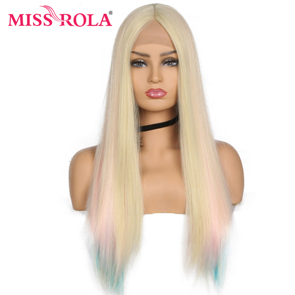 Miss Rola Long Straight Synthetic Hair Wig Lace Front Synthetic Wig Cosplay Party Wig For Women Rainbow Color 26 Inch