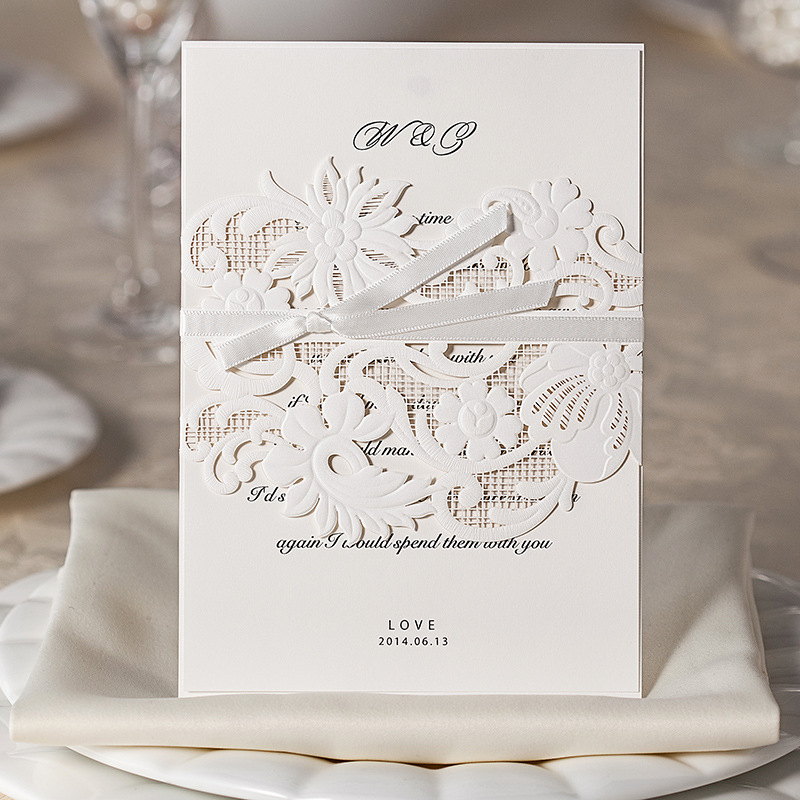 100 Piece White Hollow Out Wedding Invitation Card Design , Paper ...