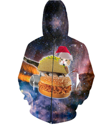 Harajuku space cat galaxy christmas hamburger taco 3d print zip up hoodie zipper sweatshirts women men.jpg 250x250