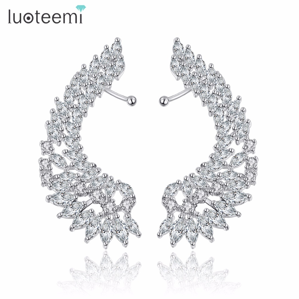 LUOTEEMI Charming Trendy Kepribadian Antiallergic Mewah Cubic Zircon Angle Sayap Stud Earrings Wanita Mode Party Bar Perhiasan