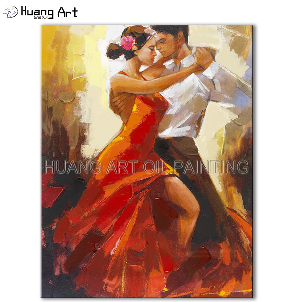 Handmade Tango Oil Painting on Canvas by Skilled Artist Impression Knife Dancer Wall Painting for Living Room Decoration Art