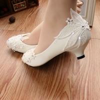 Shoes women pumps White Shoes Low Heels Shoes Rhinestone Lace leaf Wedding Shoes Female Shoes Women heels Girls shoes 3CM