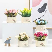 Simulation plant ceramic basin simulation flower pot decoration home creative desktop
