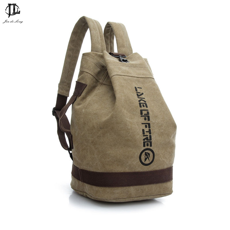 Male Fashion Casual Canvas Backpack Middle School Students Book Bags Travel Large Capacity Backpack Man Bucket