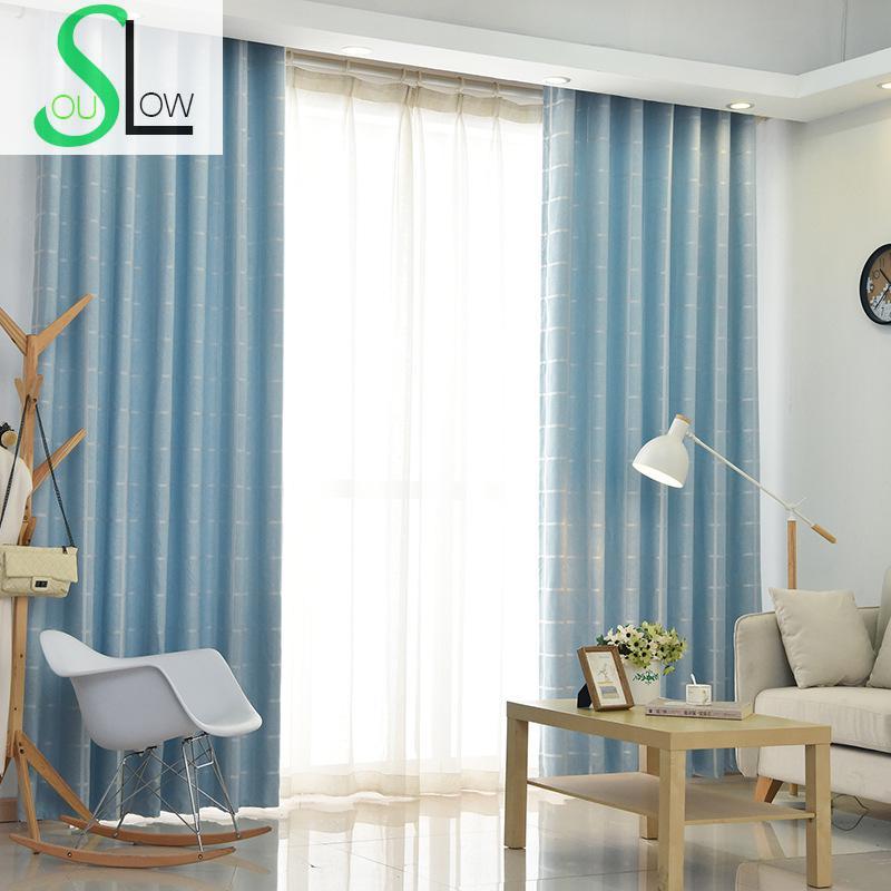 Langsam Seele Blau Grau Moderne Einfache Vorhang Jacquard Japan Stil Gestreiften Vorhange Fur Wohnzimmer Cortinas Kuche Schlafzimmer Rideau In