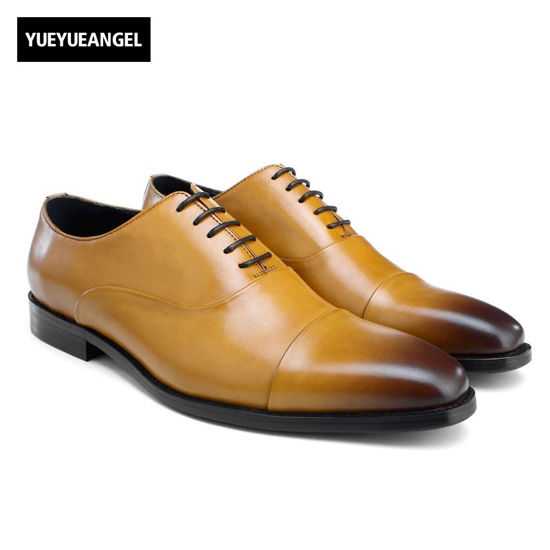 British Elegant Men Genuine Leather Formal Shoes Plus Size Lace Up Oxford Social Office Work Zapatos Hombre Wedding Dress Shoes недорого