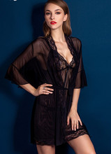 Free Ship sheer Robe Lingerie Lace half bell sleeve Sleepwear three-piece nightgown Thong Strap tippet sets sexy Night suit