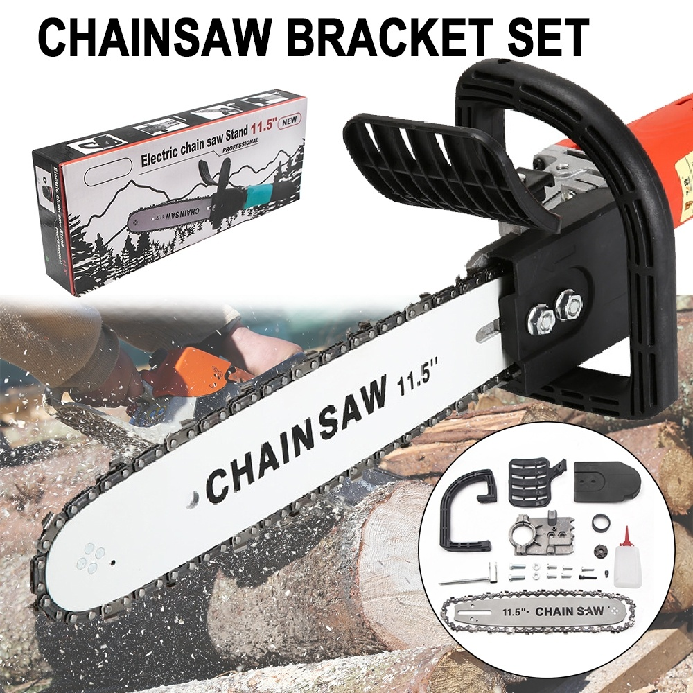 BDCAT 11.5/12 Inch Chainsaw Bracket Changed 100 125 150 Electric Angle Grinder M10/M14 Into Chain Saw Woodworking Power Tool Set