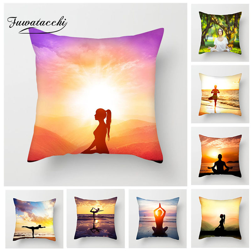 Table & Sofa Linens Home & Garden Fuwatacchi Yoga Decor Cushion Cover Sunrise Sunset Home Sofa Chair Sports Pillow Case Home Decoration Accessories Pillow Cover Regular Tea Drinking Improves Your Health