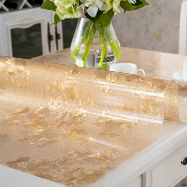 Floral Clear Rectangular Transparent PVC Tablecloth Fabric Plastic Waterproof  Tablecloth Crystal Plate Soft Glass For Table