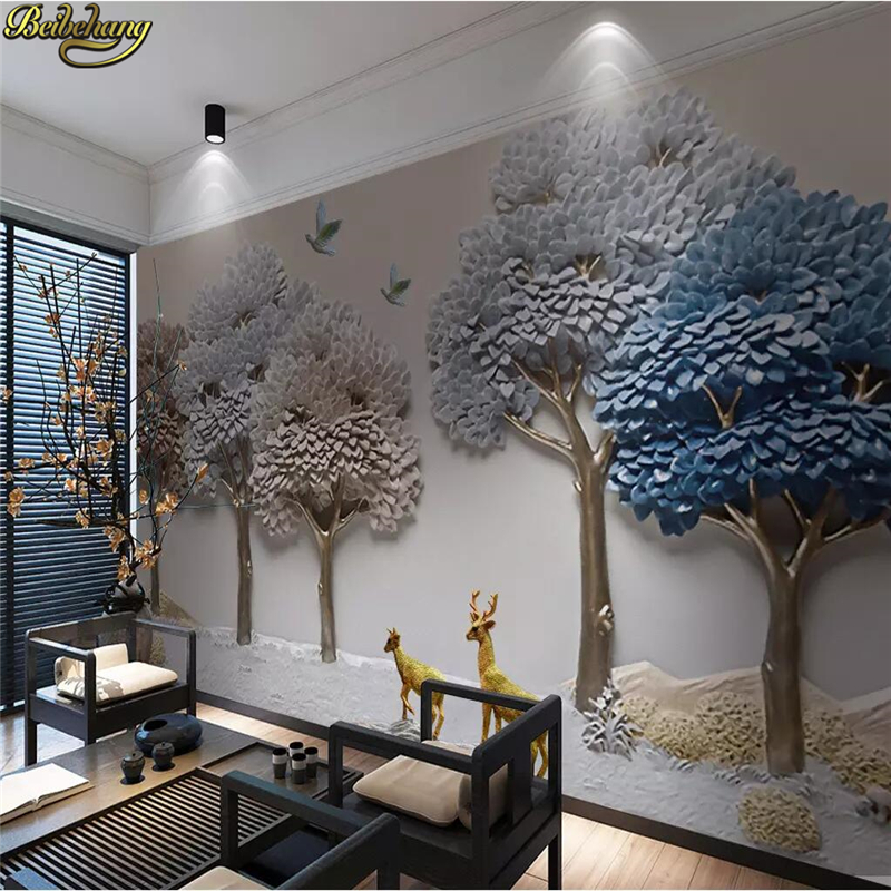 Beibehang Custom 3D Mural Wall Paper Embossed Fortune Tree Elk Background Wall Decoration Painting Photo Wallpaper For Walls 3 D