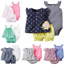 2019 Hot Sale Fashion Cotton Floral Baby Clothing Set Babycotton Rompers Girls Hot Girl Clothessummer Style Sets 3 Pieces