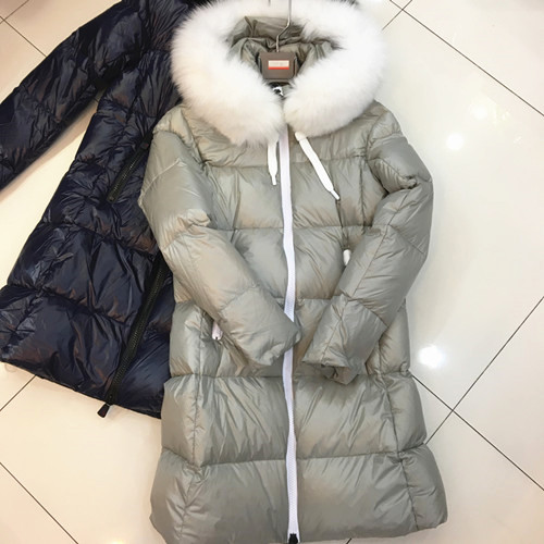 2017 European Foreign Trade New Autumn/Winter Hooded Fur Collar Cultivate One's Morality Long Jacket Girl Fluffy Warm