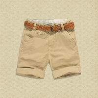 Budermmy Boys Shorts Cotton Solid Color Brown Belt Quality Summer Brand Casual Toddler Boys Clothing 2