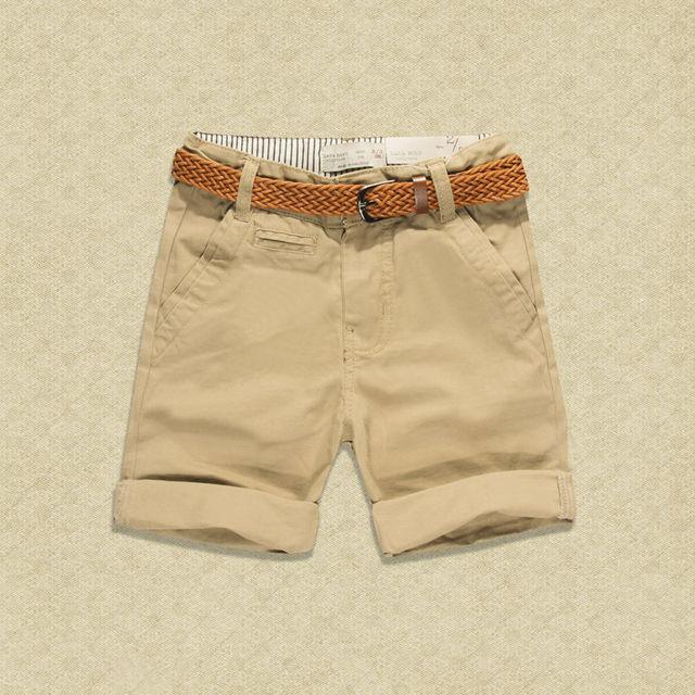 Niños pantalones cortos de algodón caqui Rojo Negro pantalones Cinturón  marrón marca niño niños pantalones cortos 24b0b9005ed